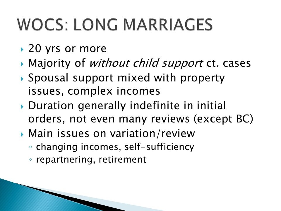 WOCS: LONG MARRIAGES 20 yrs or more
