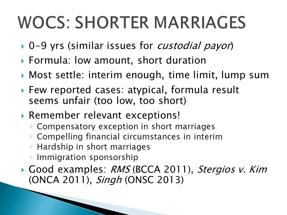 WOCS: SHORTER MARRIAGES