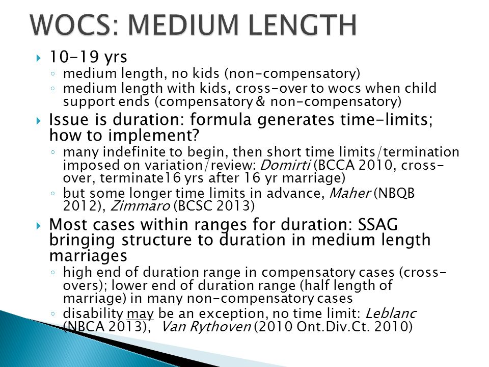 WOCS: Medium Length 10-19 yrs