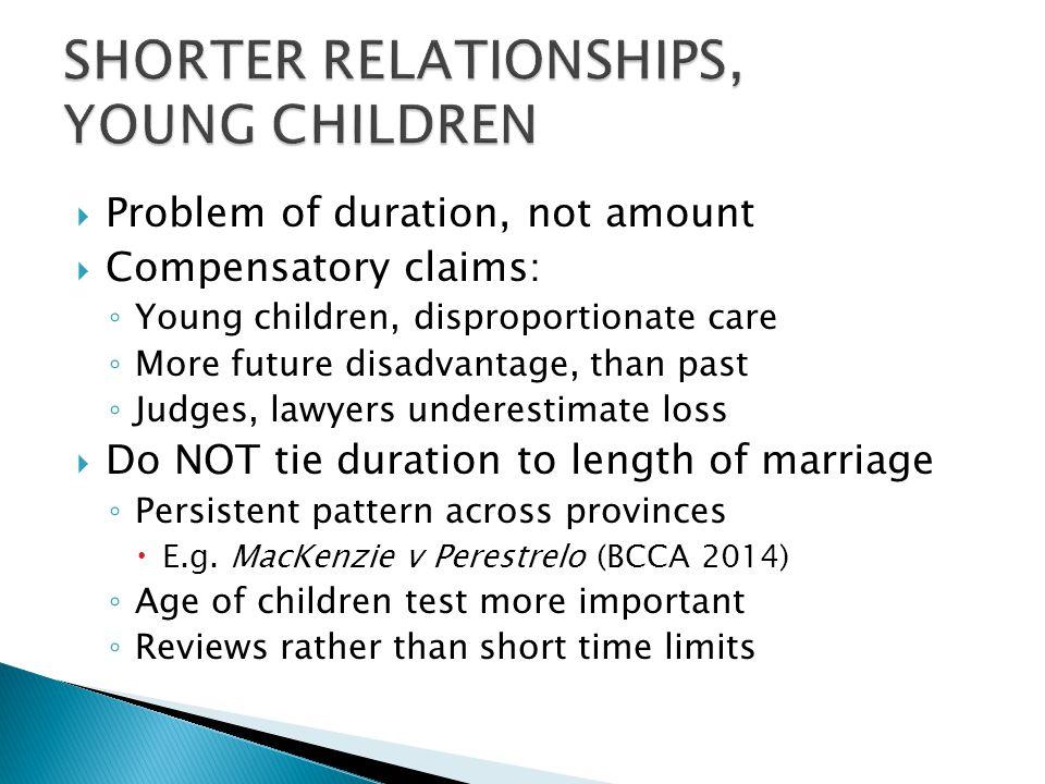 SHORTER RELATIONSHIPS, YOUNG CHILDREN