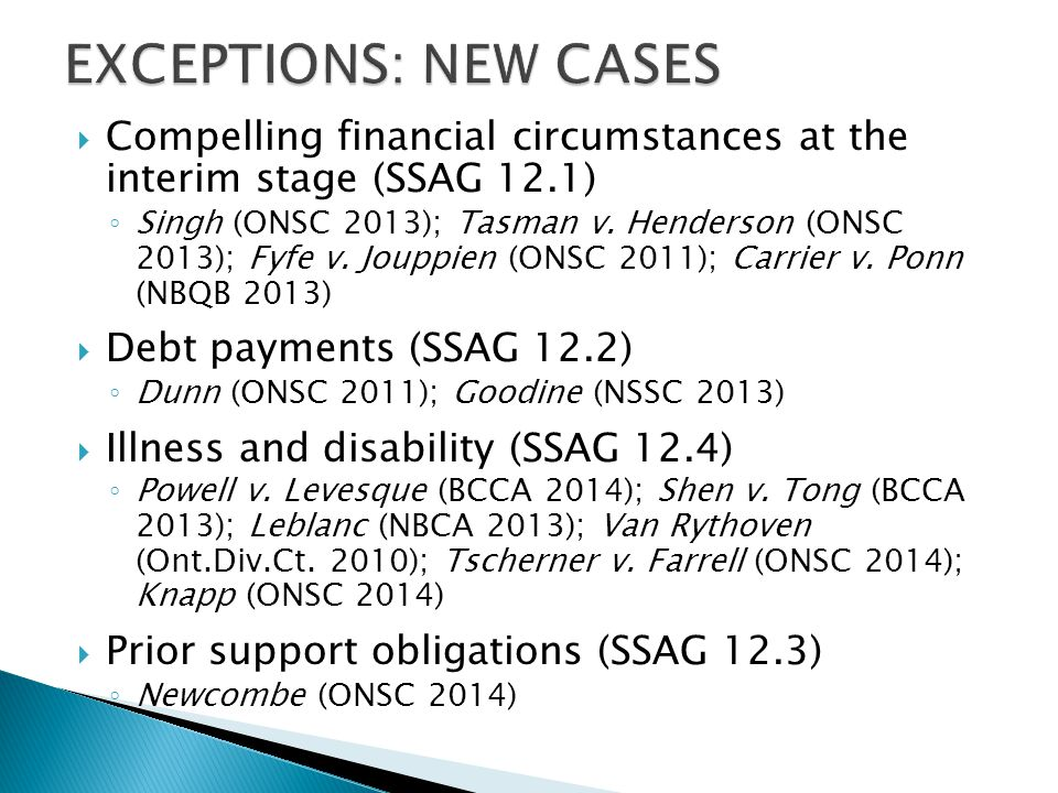 EXCEPTIONS: NEW CASES Compelling financial circumstances at the interim stage (SSAG 12.1)