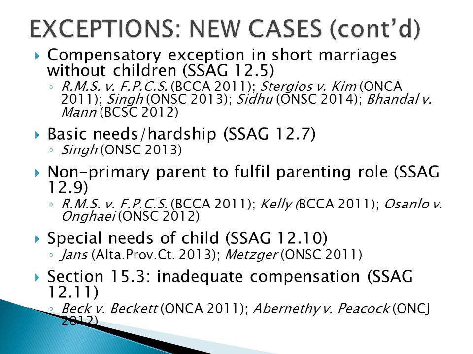 EXCEPTIONS: NEW CASES (cont'd)