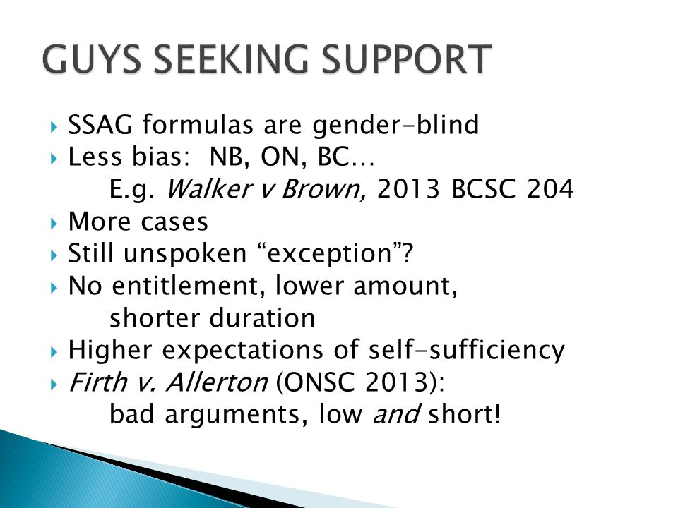 GUYS SEEKING SUPPORT SSAG formulas are gender-blind