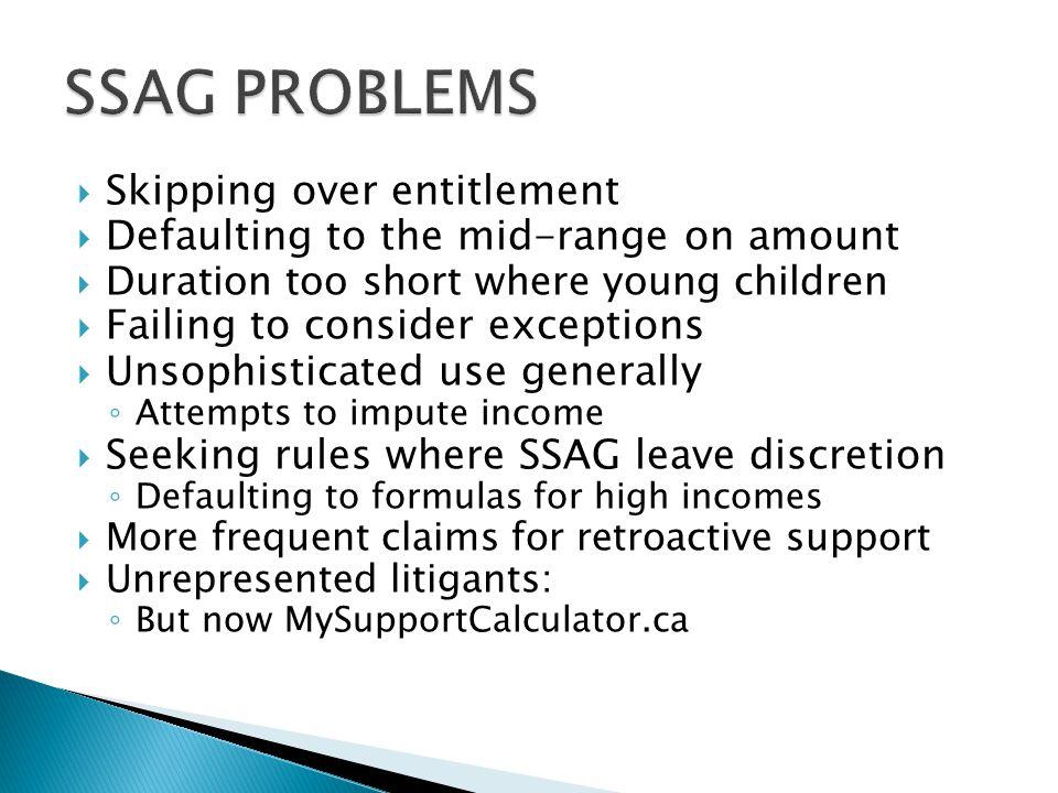 SSAG PROBLEMS Skipping over entitlement