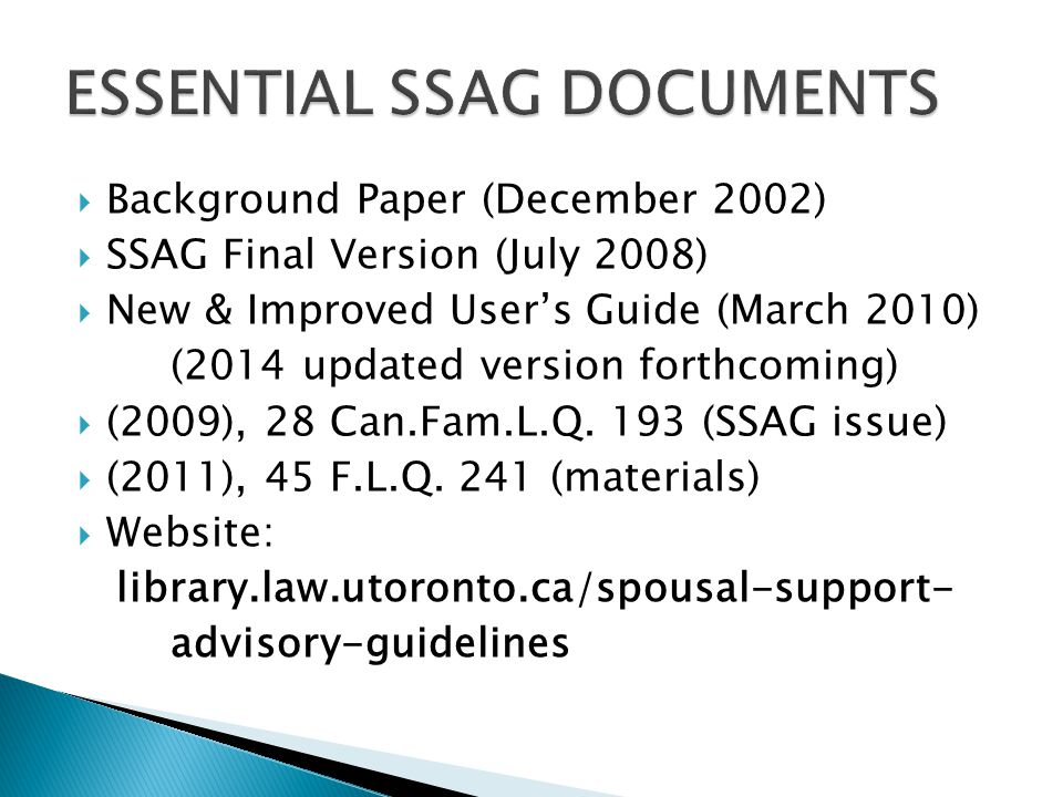 ESSENTIAL SSAG DOCUMENTS
