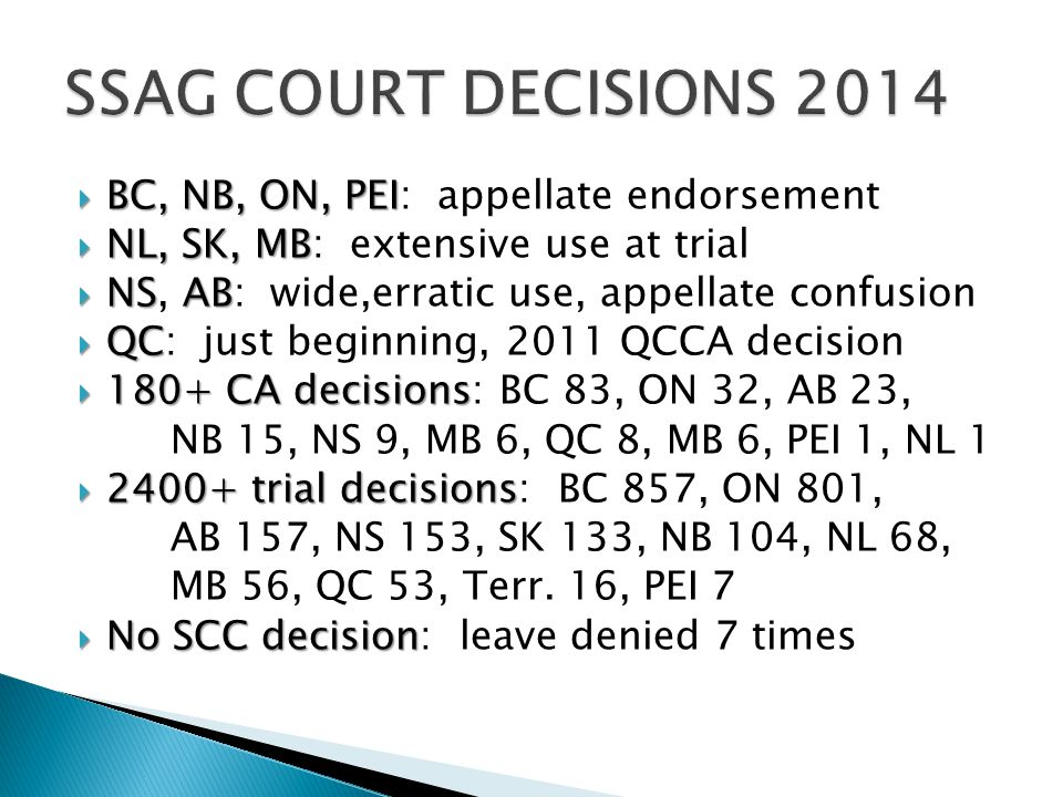 SSAG COURT DECISIONS 2014 BC, NB, ON, PEI: appellate endorsement