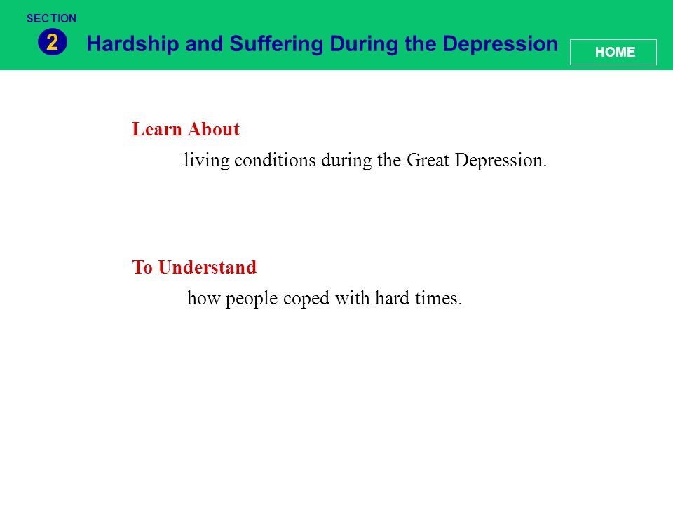 2 Hardship and Suffering During the Depression Learn About