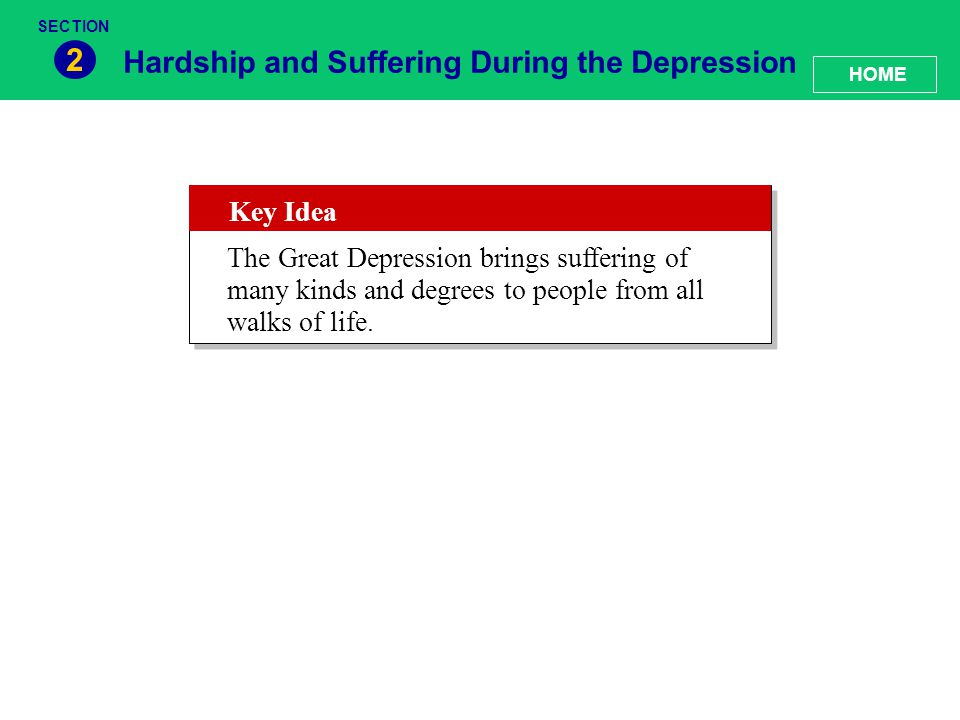2 Hardship and Suffering During the Depression Key Idea