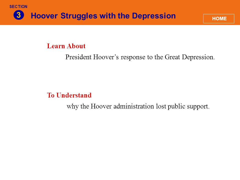 Hoover Struggles with the Depression