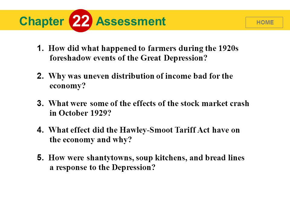 22 Chapter. Assessment. HOME. 1. How did what happened to farmers during the 1920s foreshadow events of the Great Depression