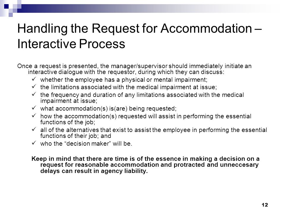 Handling the Request for Accommodation – Interactive Process