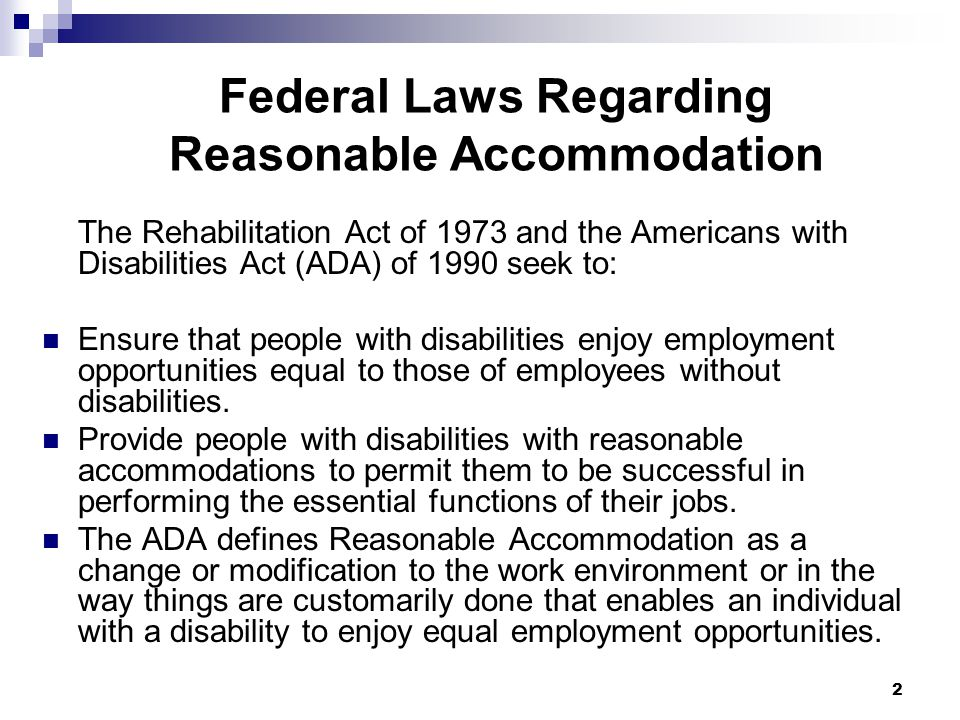 Federal Laws Regarding Reasonable Accommodation