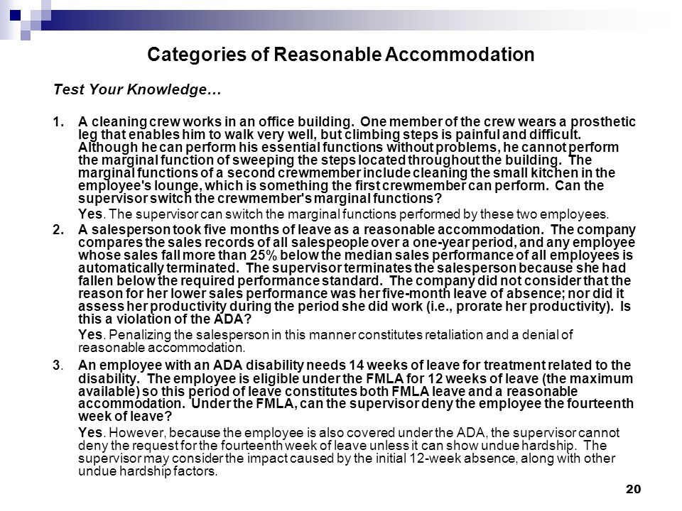 Categories of Reasonable Accommodation