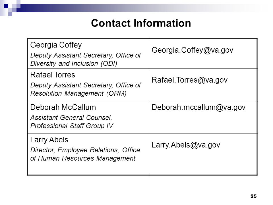 Contact Information Georgia Coffey. Deputy Assistant Secretary, Office of Diversity and Inclusion (ODI)