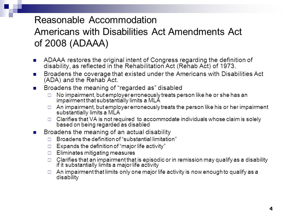 Reasonable Accommodation Americans with Disabilities Act Amendments Act of 2008 (ADAAA)