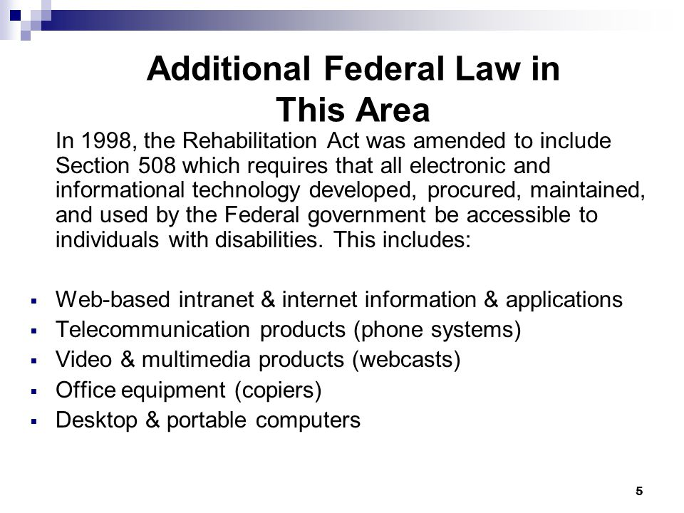 Additional Federal Law in This Area