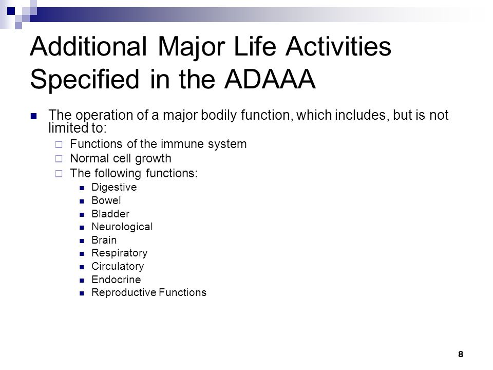 Additional Major Life Activities Specified in the ADAAA