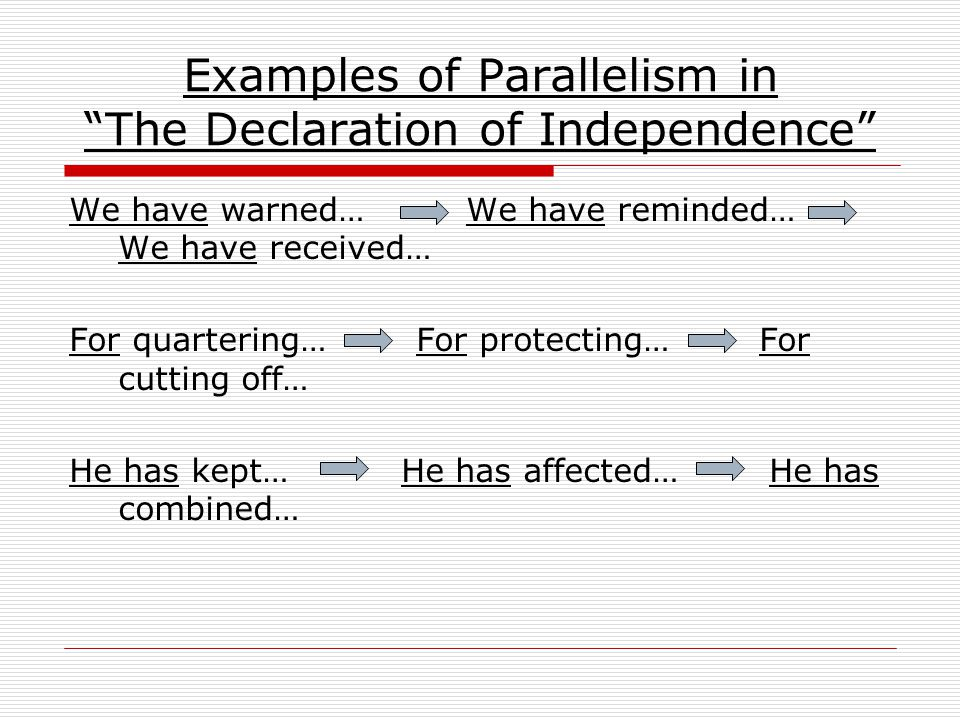 Examples of Parallelism in The Declaration of Independence