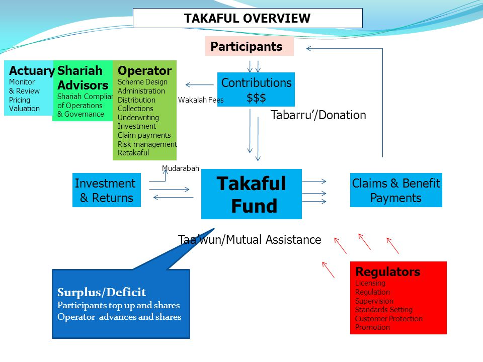 Takaful Fund TAKAFUL OVERVIEW Participants Actuary Shariah Advisors