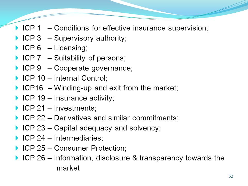 ICP 1 – Conditions for effective insurance supervision;