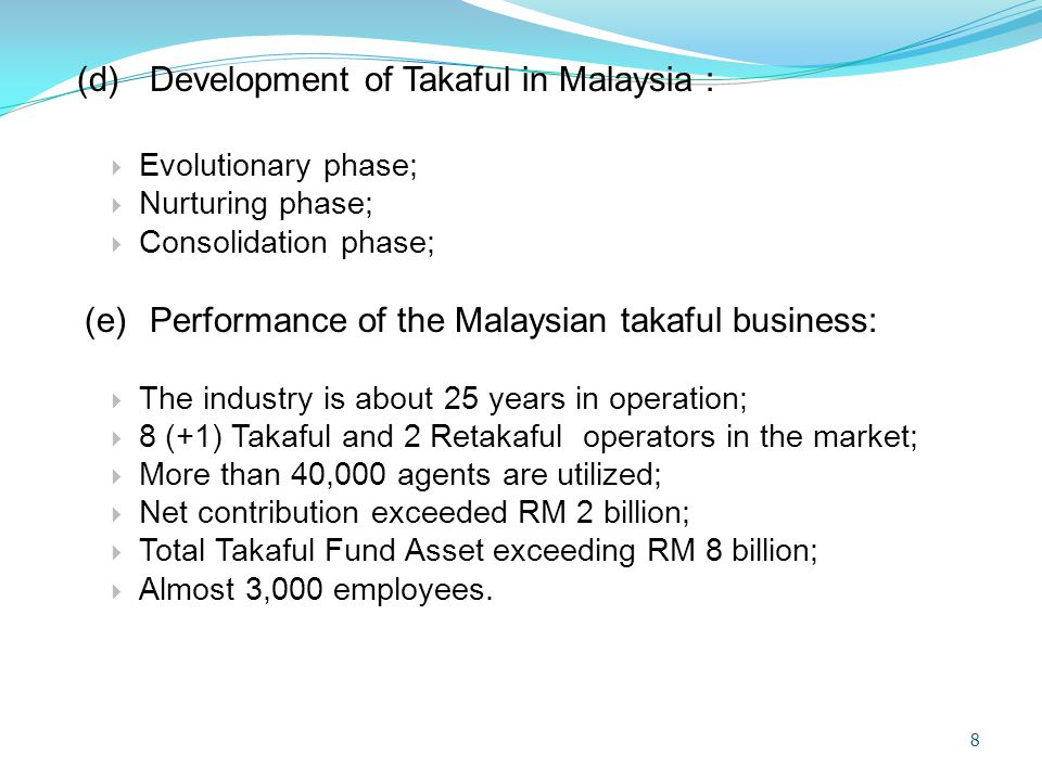 (e) Performance of the Malaysian takaful business: