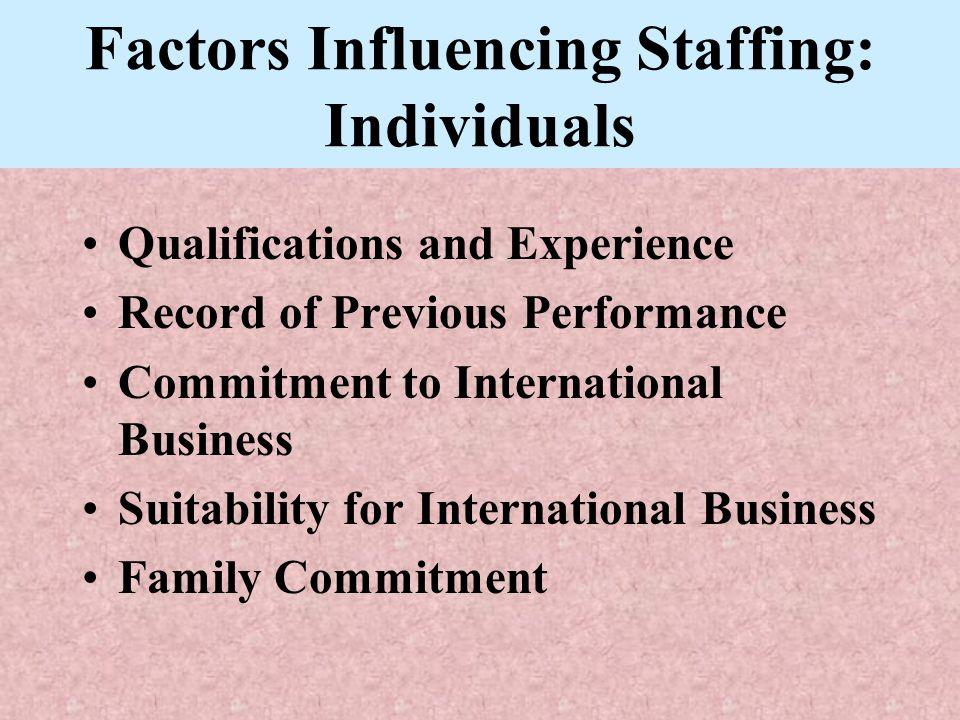 Factors Influencing Staffing: Individuals