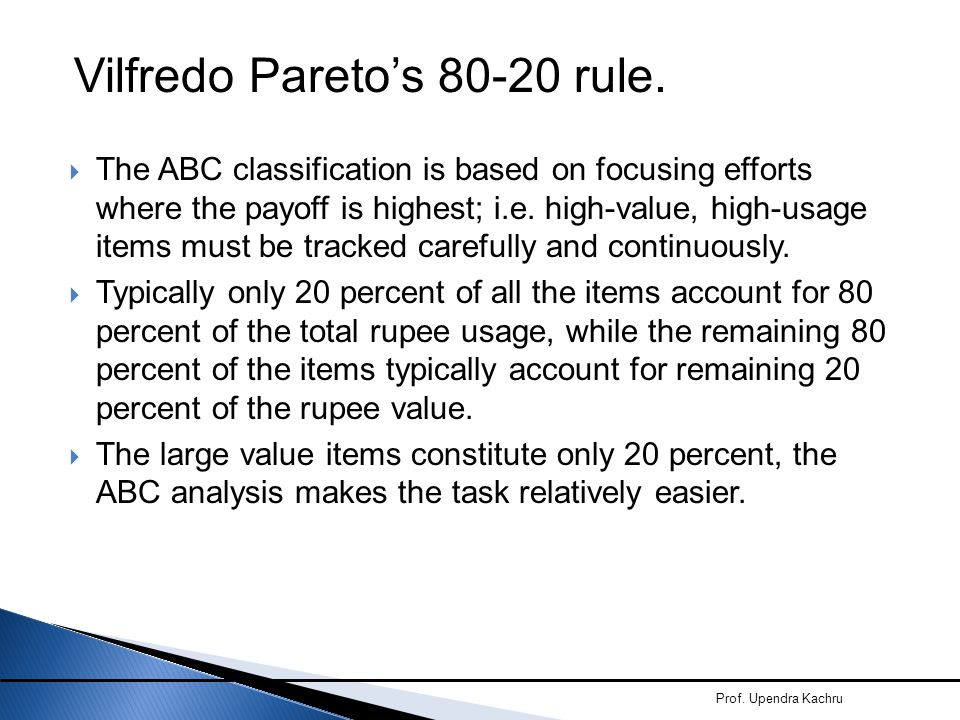 Vilfredo Pareto's 80-20 rule.