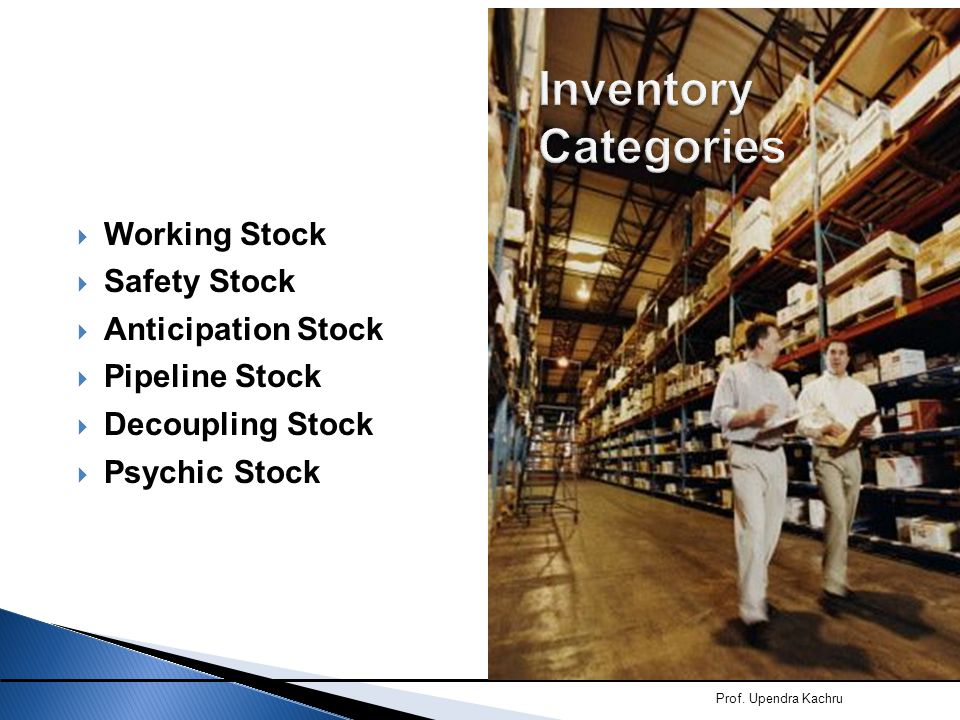 Inventory Categories Working Stock Safety Stock Anticipation Stock