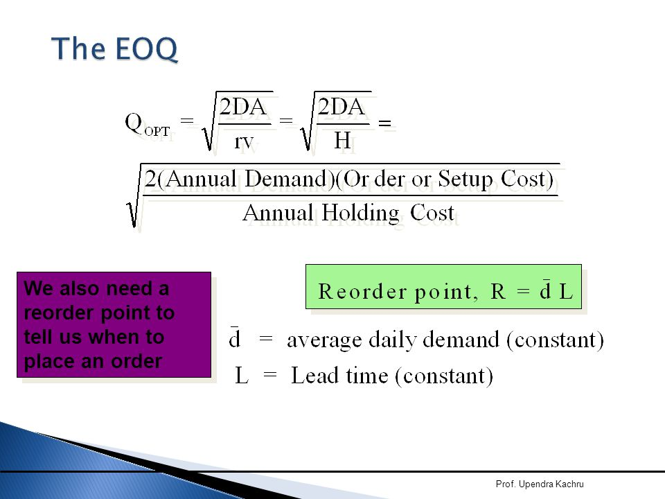 The EOQ We also need a reorder point to tell us when to place an order