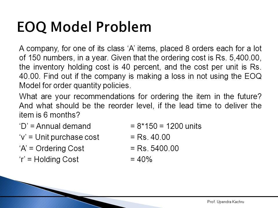 EOQ Model Problem