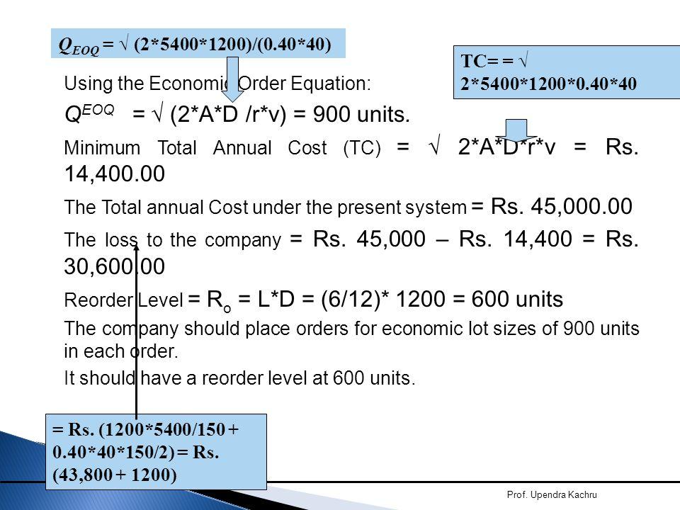 QEOQ = √ (2*A*D /r*v) = 900 units.