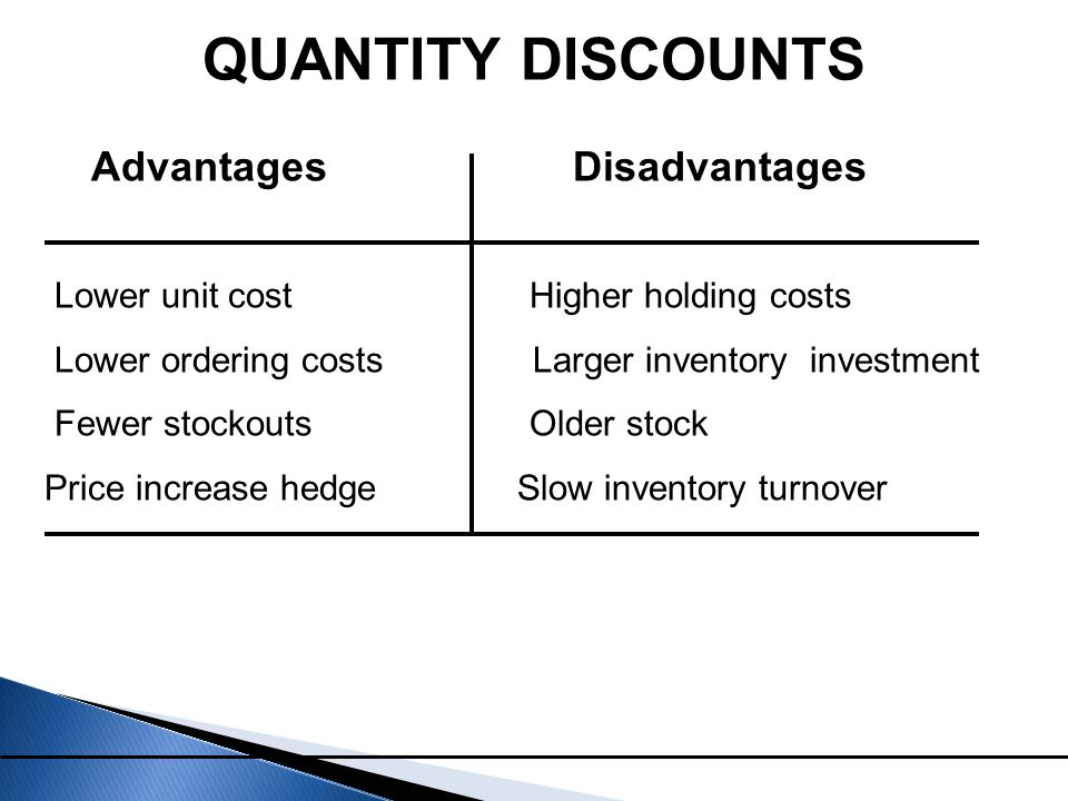 QUANTITY DISCOUNTS Advantages Disadvantages