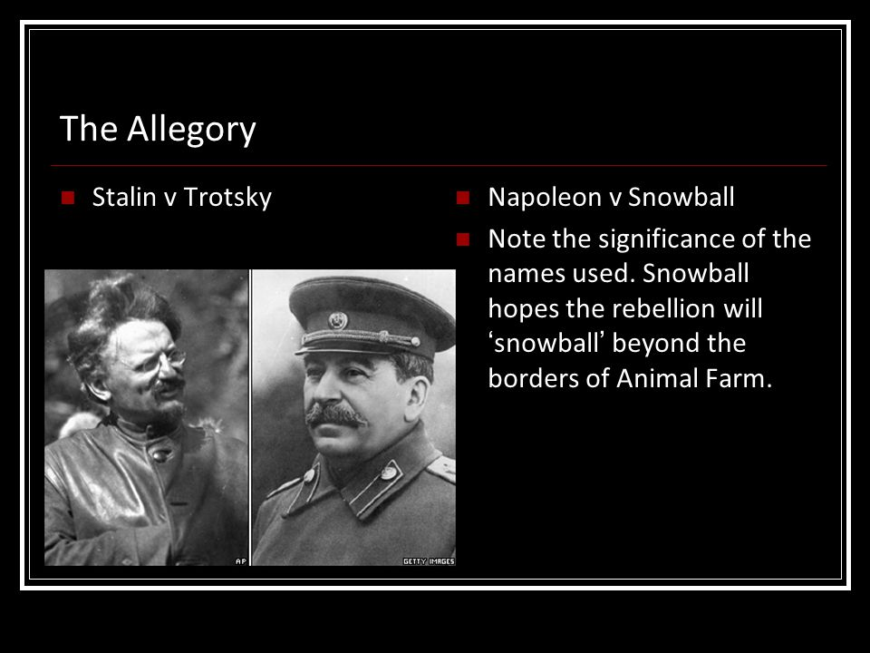 The Allegory Stalin v Trotsky Napoleon v Snowball
