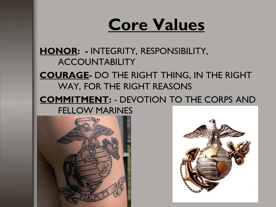Core Values HONOR: - INTEGRITY, RESPONSIBILITY, ACCOUNTABILITY