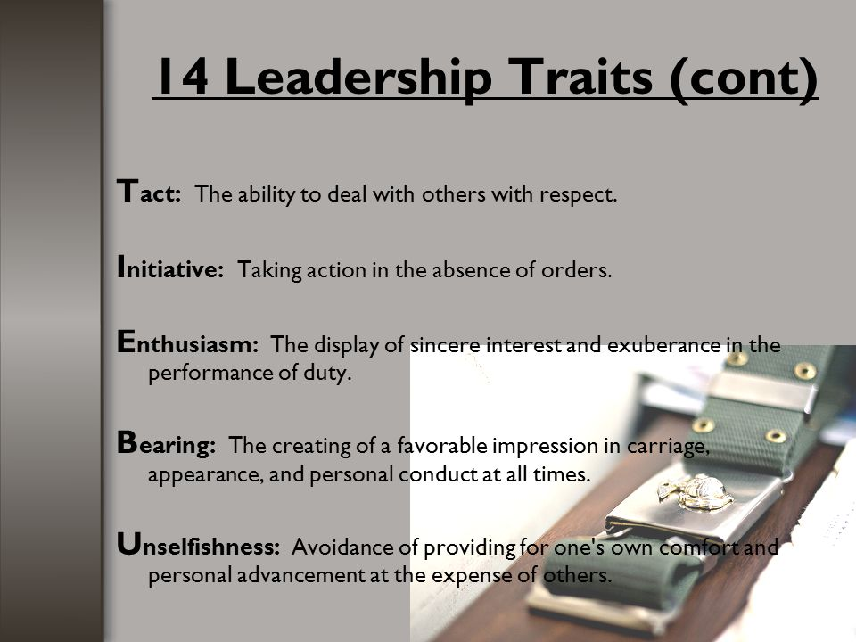 14 Leadership Traits (cont)