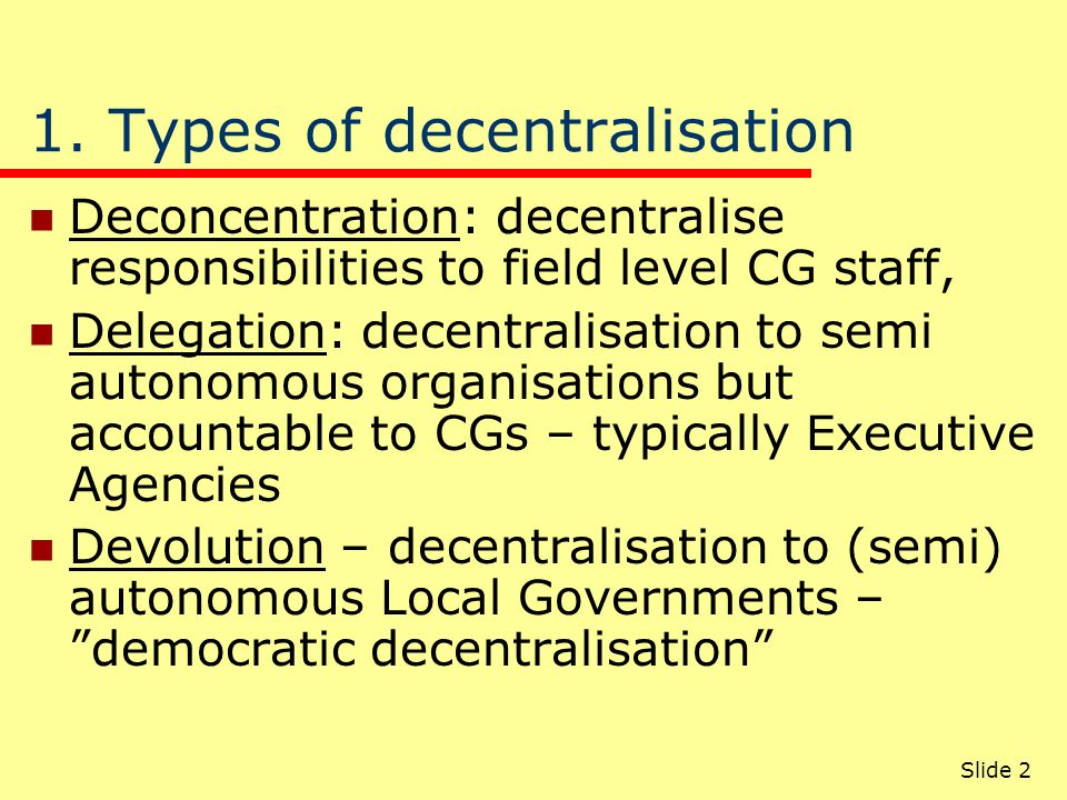 Objectives of decentralisation