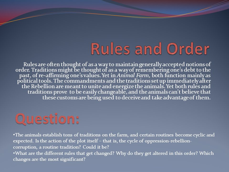 Rules and Order Question: