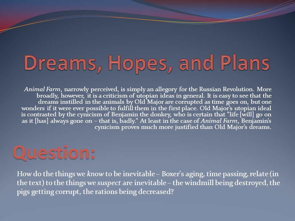Dreams, Hopes, and Plans Question: