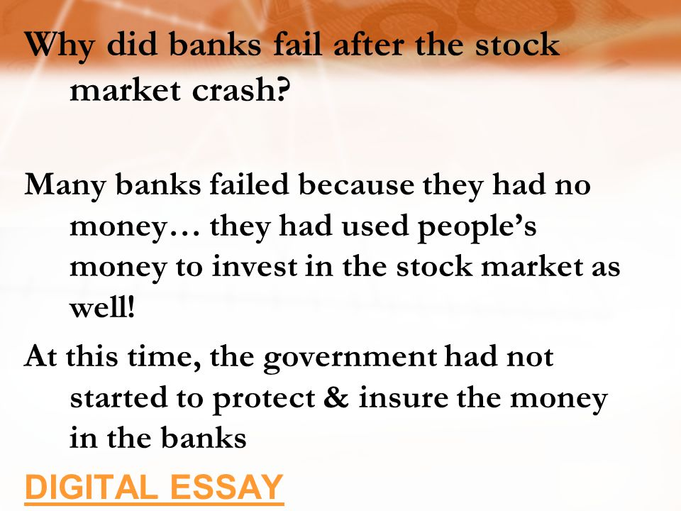 Why did banks fail after the stock market crash