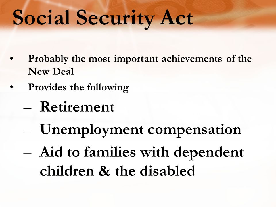 Social Security Act Retirement Unemployment compensation