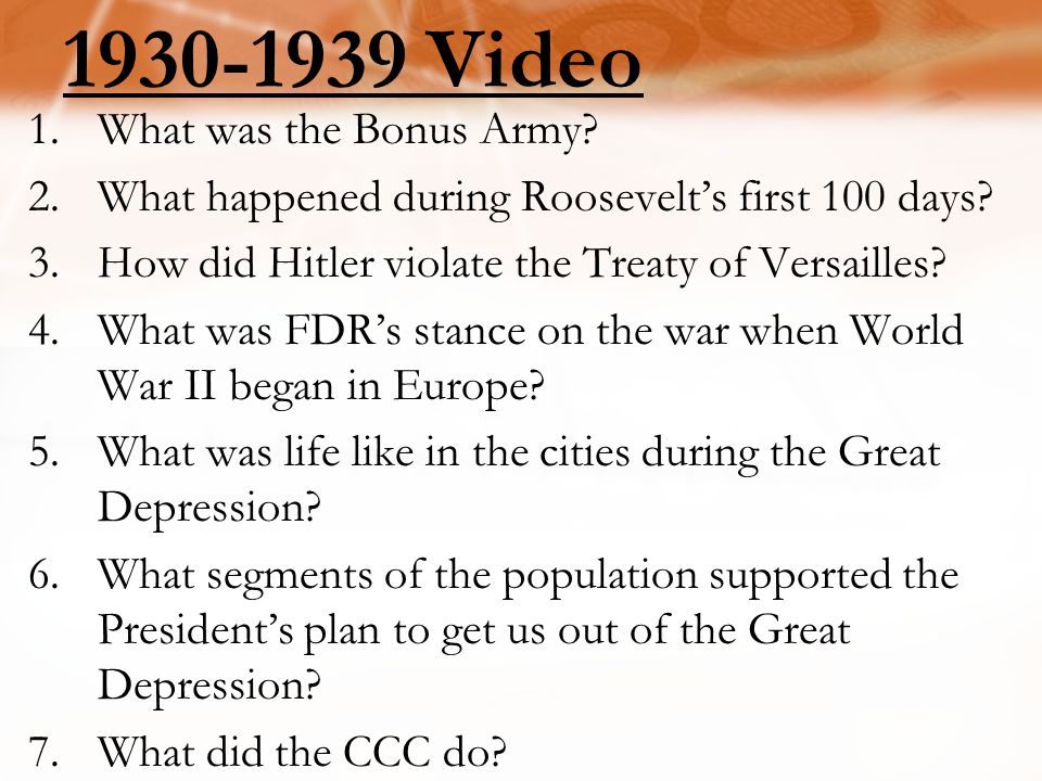 1930-1939 Video What was the Bonus Army