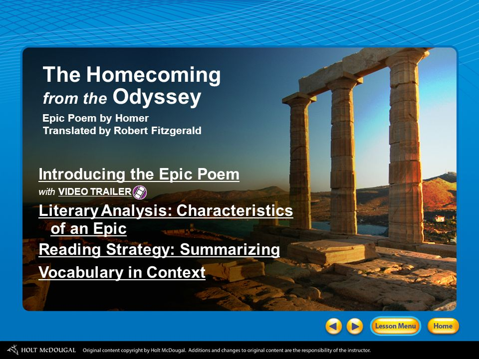 The Homecoming from the Odyssey Introducing the Epic Poem