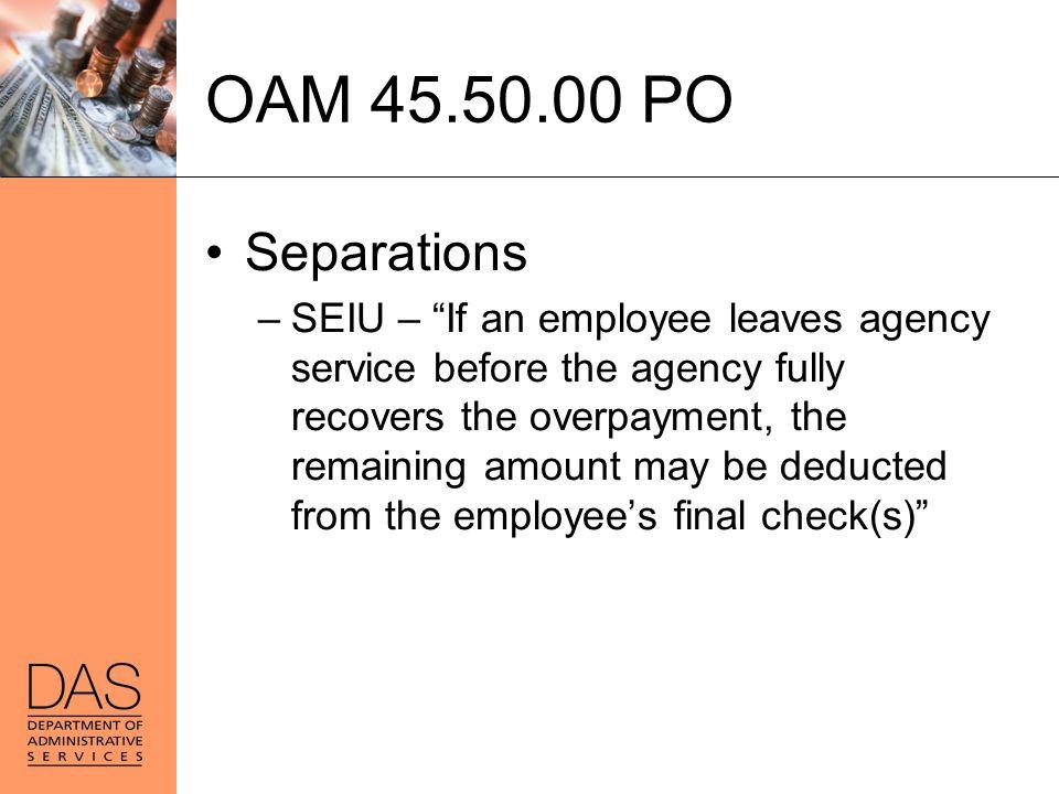 OAM 45.50.00 PO Separations.