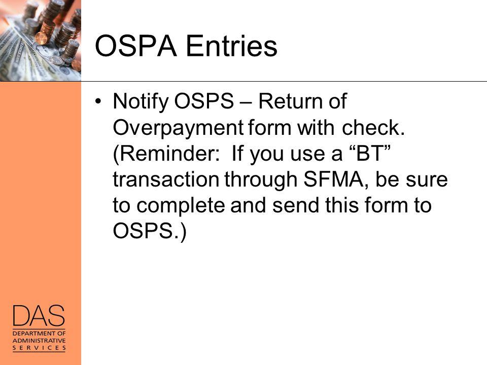 OSPA Entries