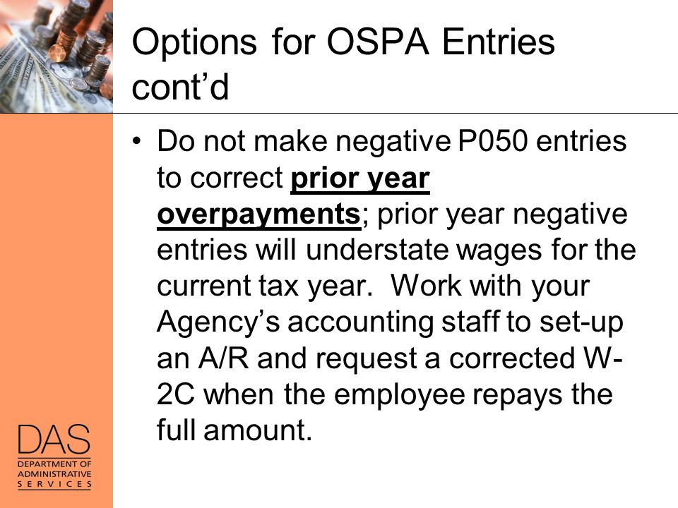 Options for OSPA Entries cont'd