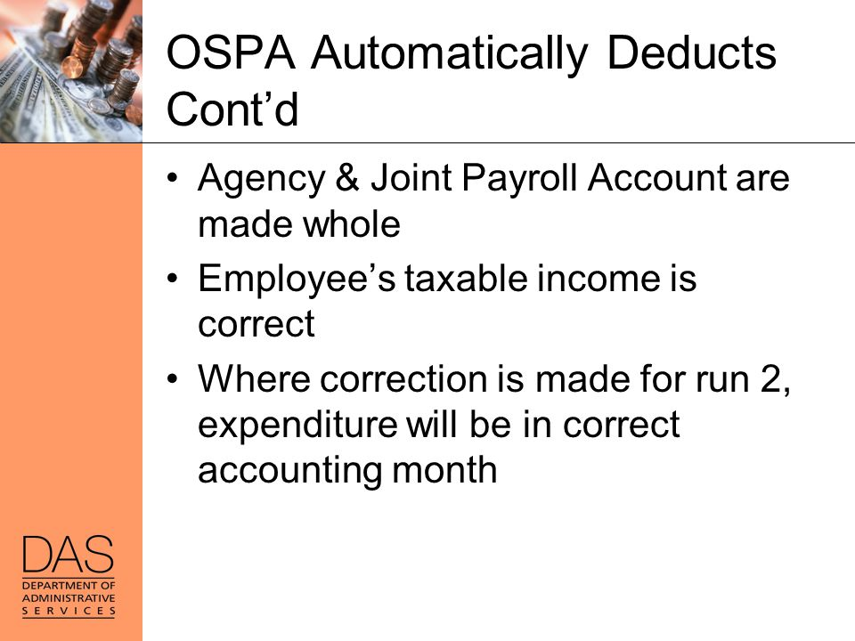 OSPA Automatically Deducts Cont'd