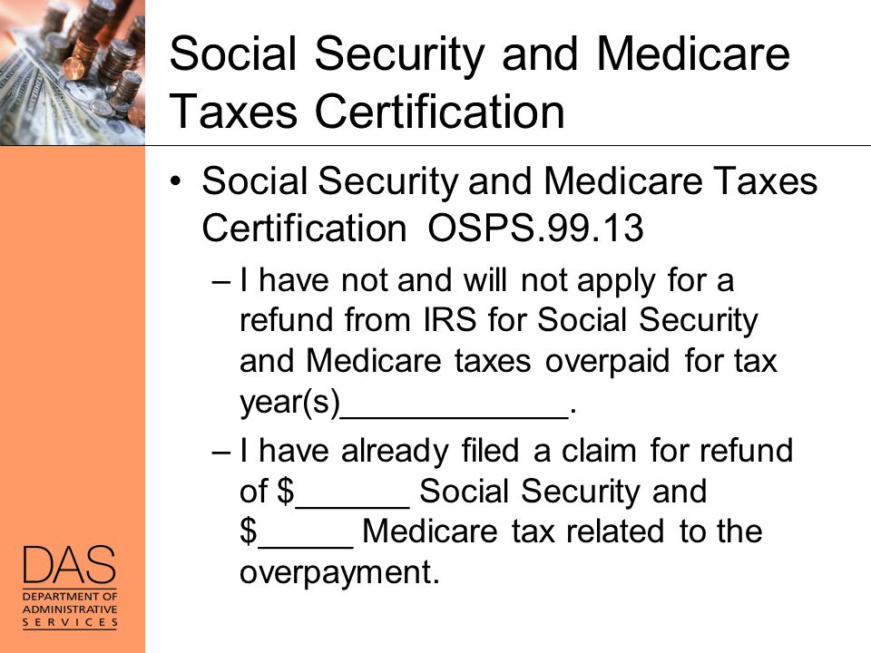Social Security and Medicare Taxes Certification