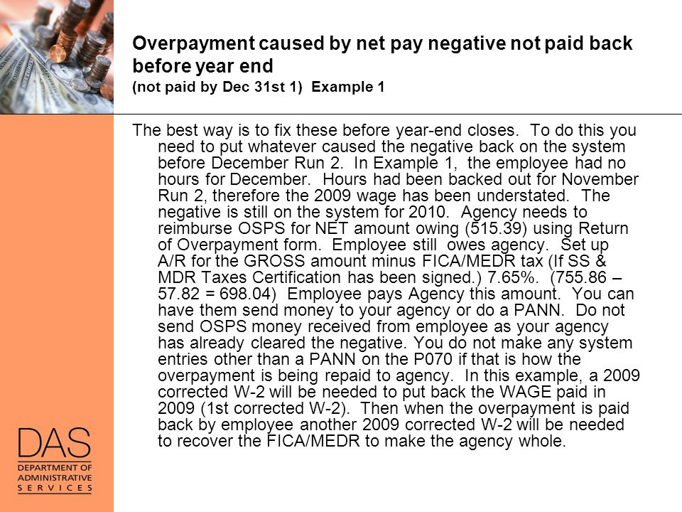 Overpayment caused by net pay negative not paid back before year end (not paid by Dec 31st 1) Example 1