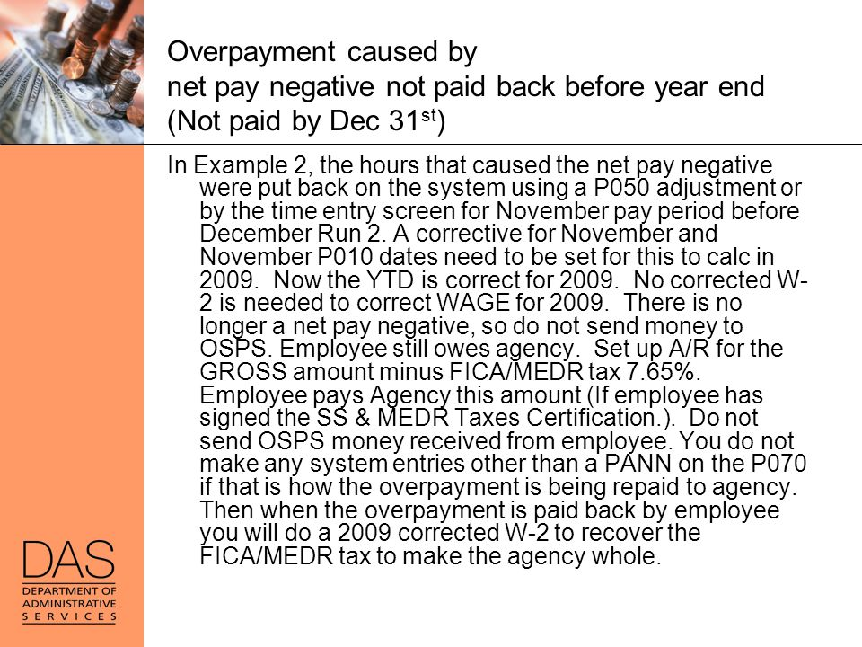 Overpayment caused by net pay negative not paid back before year end (Not paid by Dec 31st)
