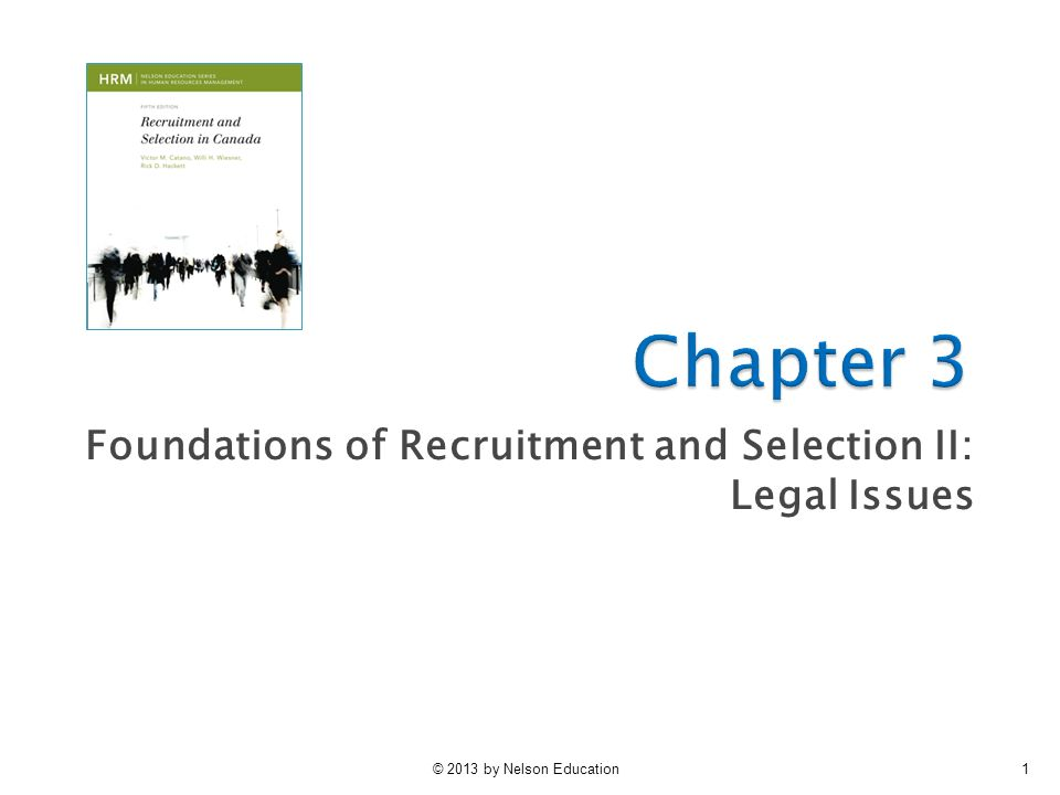 Foundations of Recruitment and Selection II: Legal Issues
